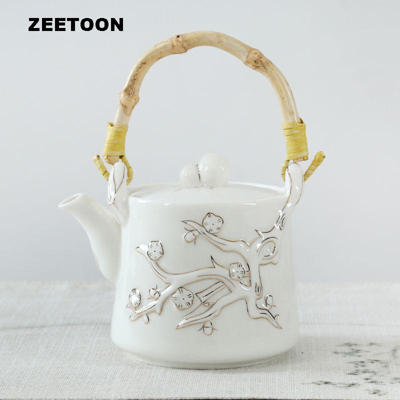 500 ml Hohe kapazität Japanischen Stil Strahl Teekanne Pflaume Topf Puer Tee topf Keramik Bone china Kung Fu Tee-set Kreative Wohnkultur neue