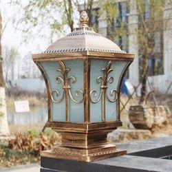 IP65 perunggu kuningan antik antik lanskap klasik luar tahan air pagar tonggak pilar cahaya lampu