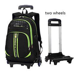 Terbaru Removable Anak Tas Sekolah dengan 2 Roda untuk Anak, Trolley Sekolah Tas Buku Tas Ransel Roda