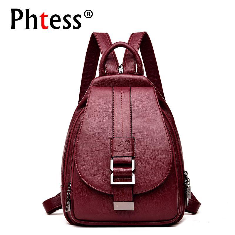 2018 Women Leather Backpacks Vintage Female Shoulder Bag Sac a Dos Travel Ladies Bagpack Mochilas School Bags For Girls Preppy