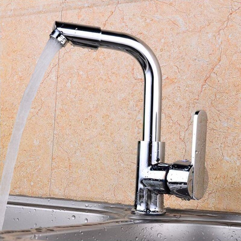 Einzigen Handgriff Zwei Loch Mischbatterie Moderne Küche Bar Waschbecken Wasserhahn Chrom Poliert Drehbare Becken Wasserhahn Taps