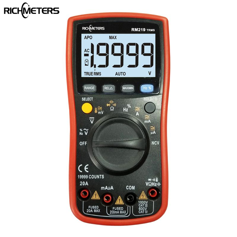RM219 True-RMS 19999 Counts Digital Multimeter NCV Frequency Auto Power off AC DC Voltage Ammeter Current Ohm
