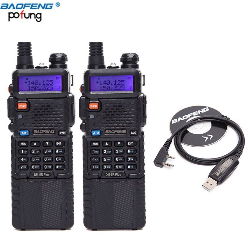 2PCS/LOT Baofeng DM-5R plus VHF/UHF 136-174/400-480MHz 3800mAh Battery Dual Band DMR Digital Radio Walkie Talkie Transceiver