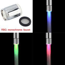 Cambio LED ducha del agua del sensor no batería grifo glow izquierda tornillo cocina accesorios corriente presión de la cabeza Baño