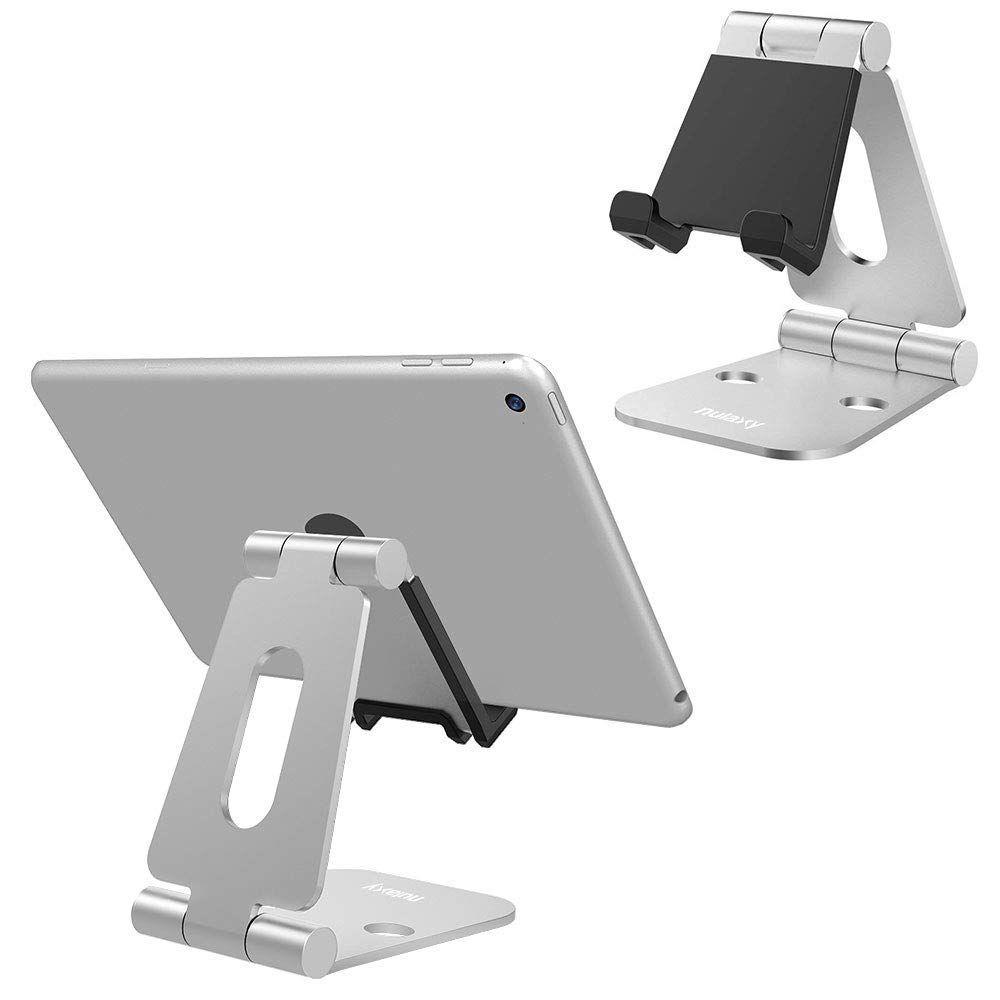 Nulaxy Mobile Téléphone Titulaire Stands En Alliage D'aluminium Double Charnière Réglable Téléphone Stand Support de Bureau Pliable Pour iPad Pour iPhone X 8