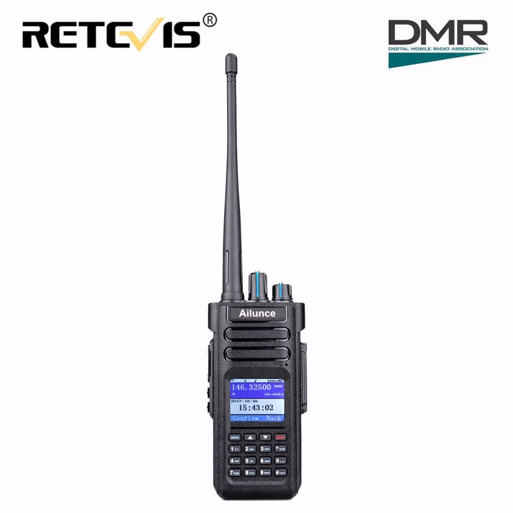 Dual Band DMR Ham Radio Retevis Ailunce HD1 GPS Digital Walkie Talkie 10W/5W/1W VHF UHF Amateur Radio Transceiver+Program Cable