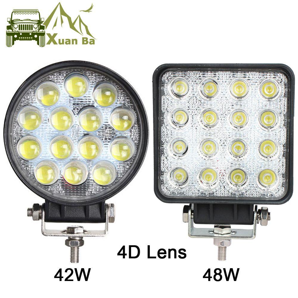 XuanBa 4.5 Inch 48W Round Led Work Light For 12v 24v Truck 4x4 off road ATV UTV 4WD offroad driving fog lamp Flood Beam Lights