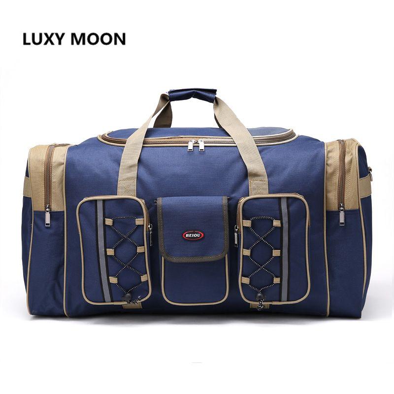 Thick Canvas Causal Duffle Bag Waterproof Mens Travel Bags Long Strap Anti-scratch Muliti-pocket Large Capacity Handbags L468