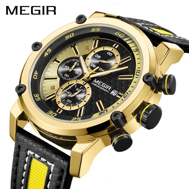 Creative MEGIR Chronograph Sport Men Watch Luxury Quartz Watches Men Clock Army Military Wristwatches Hour Relogio Masculino
