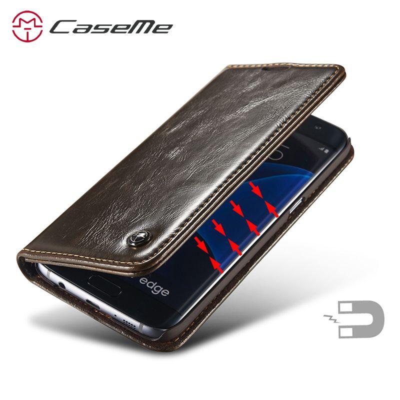 Caseme En Cuir Pour Samsung S7 bord Flip Cas Magnétique de Couverture Pour Samsung Galaxy S7 bord Flip Couverture De Cas Pour Samsung Galaxy S7