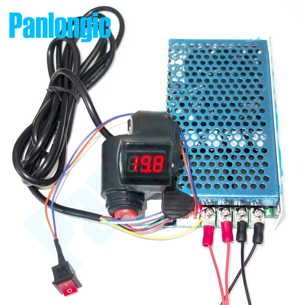 Panlongic Thumb Hall Throttle 100A 5000W Reversible PWM DC Brush Motor Speed Controller 12V 24V 36V 48V Soft Start Voltmeter