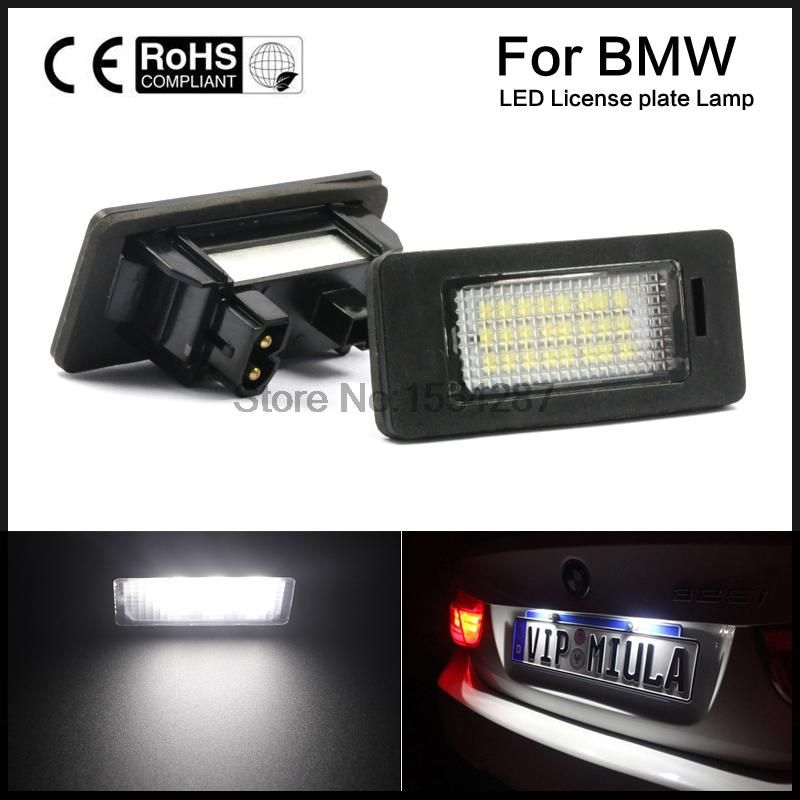 A Pair 24 LED 3528 SMD LED License Plate Lights Lamps Bulbs 6000K Cool White For BMW E82 E90 E92 E93 M3 E39 E60 E70 X5
