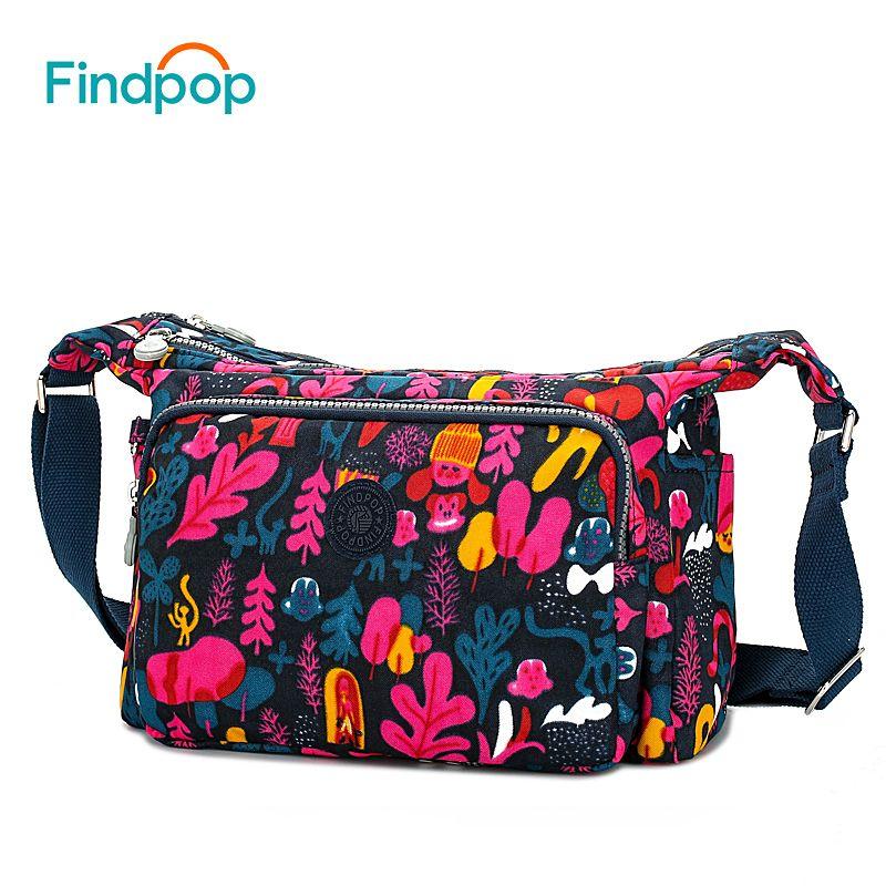 Findpop Flowers Printed Shoulder Bags For Women 2018 Fashion Casual Women Crossbody Bags Waterproof Canvas Single Shoulder Bags