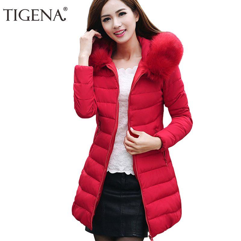TIGENA Plus Size 4XL Winter Jacket Women's 2017 Fur Collar Thick Warm Cotton Parka For Women Winter Jacket Coat Female