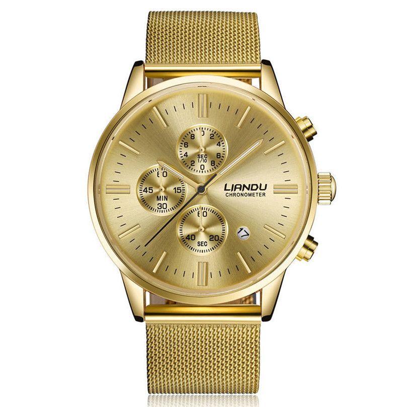 Fashion lovers Watch Luxury Simple Stainless Steel Analog Quartz Wrist Watch Waterproof Bracelet Gifts relogios masculino #40