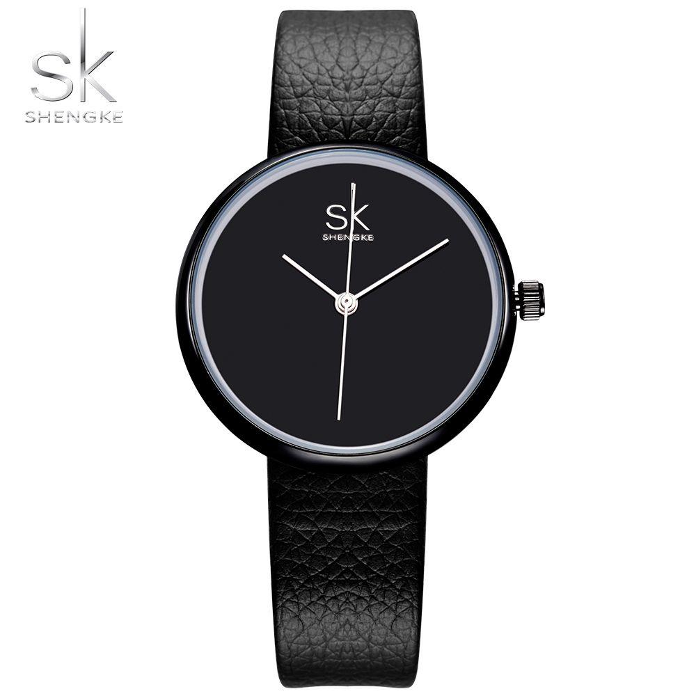 Shengke montres femmes Quartz horloge haut marque montres en cuir femmes Montre casual noir blanc Simple Montre-bracelet Montre Femme 2017