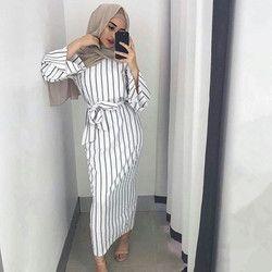 Plus la taille Adulte Musulman sriped mode Robe Musulmane Turque Dubaï Abaya Musulman Robe Arabe Culte Service abaya wj1866 gros