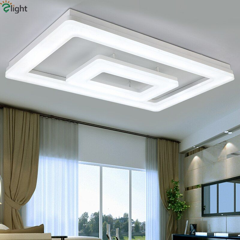 Modern Minimalism Remote Control Dimmable Led Ceiling Light 2 Layers Matte White Metal Thick Acrylic Led Living Room Lighting