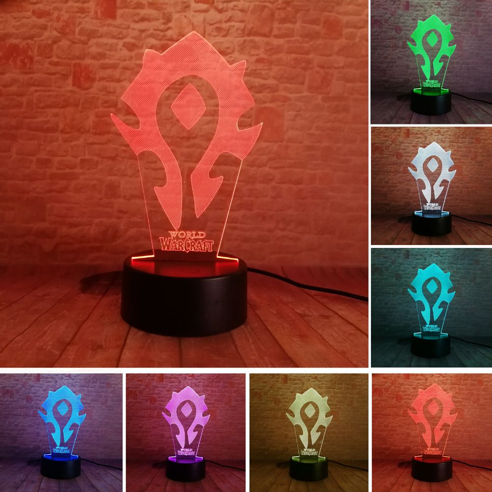 3D Illusion WOW World of Warcraft Tribal Signs 7 Color Desk Table Night Light Lamp Kiddie Kids Children Family Holiday Xmas Gift