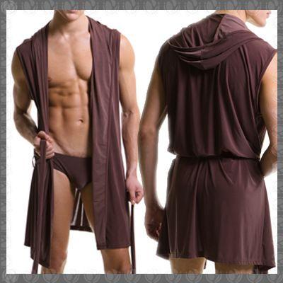 Hombres calientes batas albornoz tallas grandes marca Manview traje de hombre para hombre Sexy de seda ropa de dormir homewear Gay con capucha Sleep salón pijama