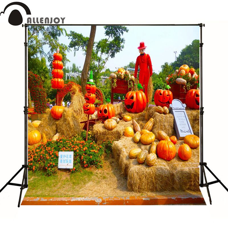 Allenjoy photography backdrops halloween Pumpkin scarecrow pumpkins backgrounds for photo studio ZJ