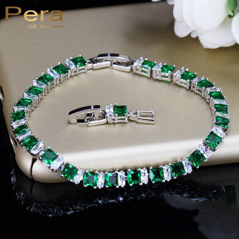 Pera 8 Options de couleur carré créé vert cristal pierre Bracelet pour dames 925 argent Sterling femmes bijoux de mariage B023