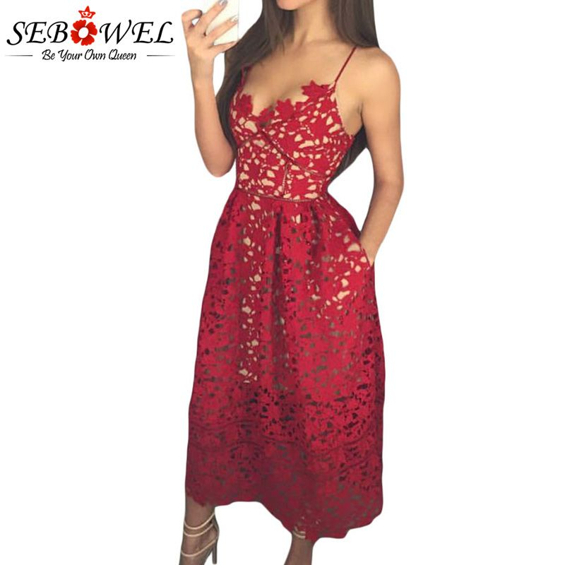SEBOWEL 2018 Sexy Red Lace Party Skater Dress Women Hollow Out Nude Illusion A-Line Dresses Ladies Sleeveless Midi Beach Dress