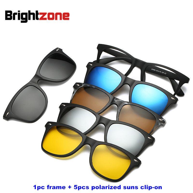 Brightzone Vintage 5 +1 Set Glasses Women Men Mirror Polarized Sunglasses Clip-on <font><b>Make</b></font> Prescription Myopia Hyperopia Astigmatism