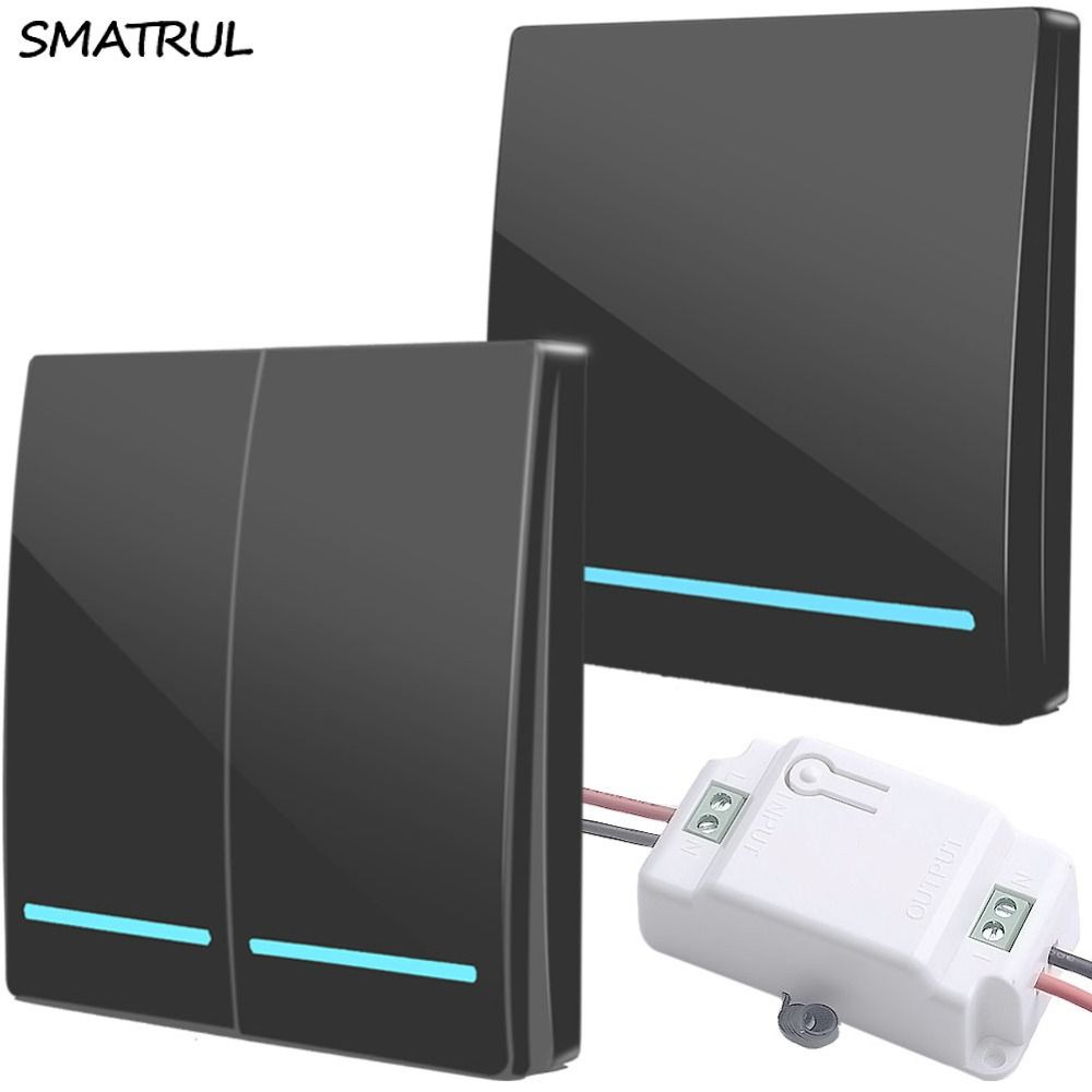 SMATRUL wholesal 433Mhz smart push Wireless Switch Light RF Remote Control AC 110V 220V Receiver Wall Panel button Ceiling Lamp