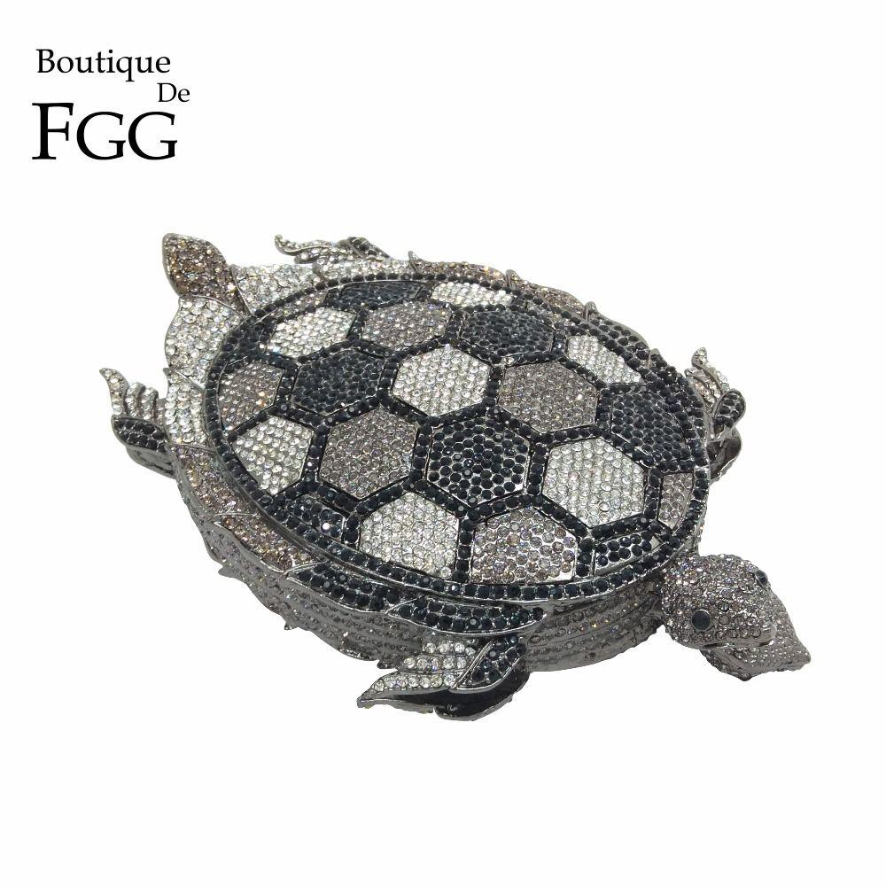 Boutique De FGG Marke Schwarz Kristall Schildkröte Frauen Metall Abend Kupplung Schminktäschchen Tasche Braut Strass Handtasche Hochzeit Geldbörse
