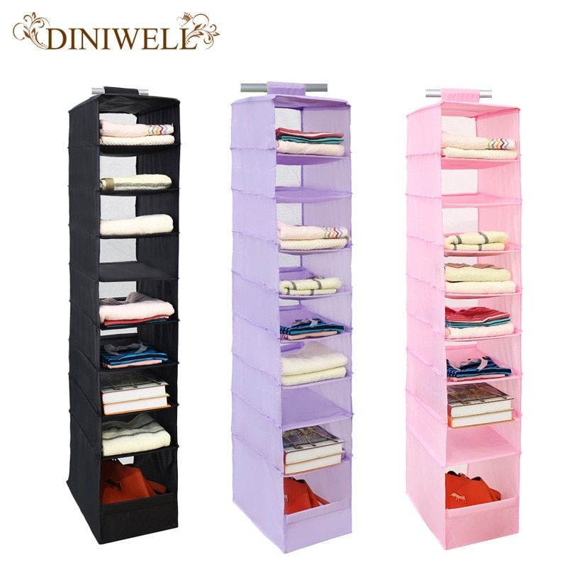 DINIWELL Washable 210D Oxford Magic Stickers Hanging Organizer Box Wardrobe Clothes Closet Storage <font><b>Bag</b></font> For Clothing Socks Hats