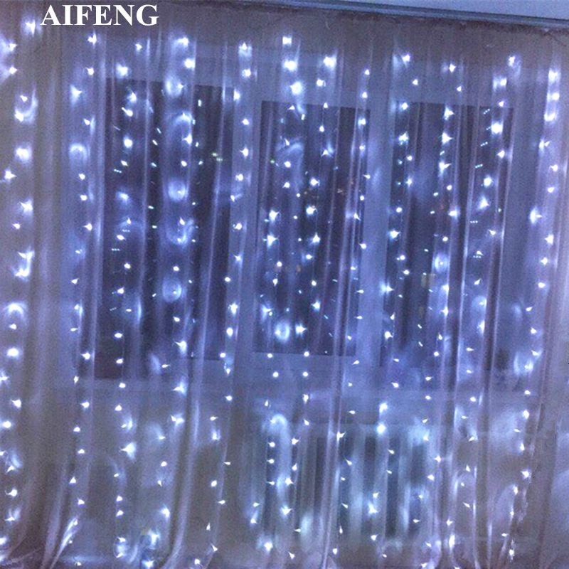 AIFENG Led Curtain Fairy Light 3x1.5M 3x2M 3x3M Christmas Garland String 144 192 300Led Holiday Lighting For Wedding Party Decor