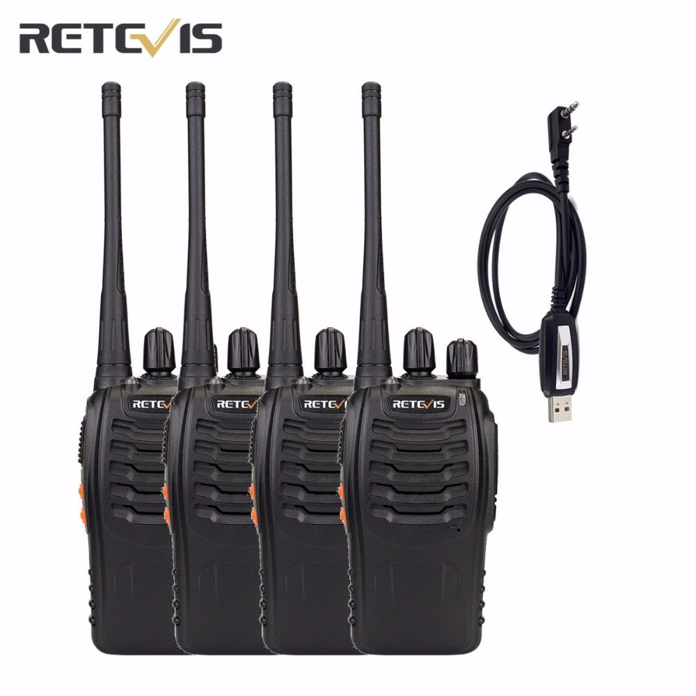 4 pcs Retevis H777 Walkie Talkie+A Programming Cable UHF400-470MHz Amateur Two Way Radio 16CH Frequency Portable Radio A9105A