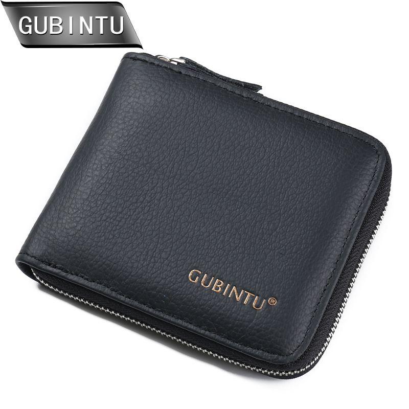 GUBINTU nouveauté hommes portefeuilles 100% en cuir véritable fermeture à glissière autour du portefeuille porte-carte porte-monnaie portefeuille porte-cartes porte-monnaie