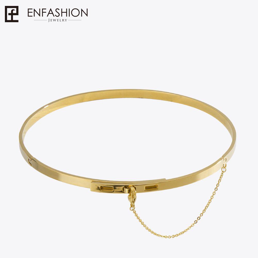 Chaîne de sécurité Enfashion colliers colliers pendentifs couleur or Collier en acier inoxydable Collier ras du cou pour femmes Collier de bijoux