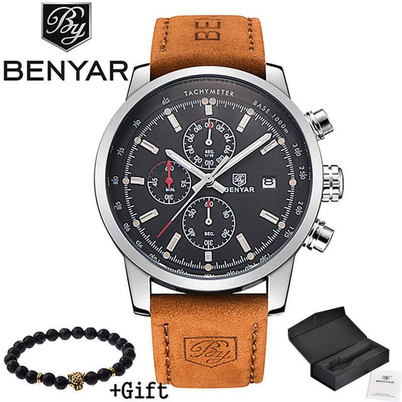 2017 BENYAR Watches Men <font><b>Luxury</b></font> Brand Quartz Watch Fashion Chronograph Sport Reloj Hombre Clock Male hour relogio Masculino