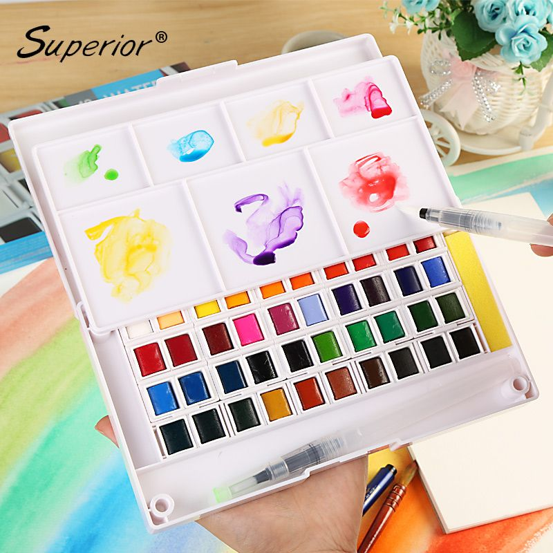 Superior 12/36/48 Solid Watercolor Paint Box With Paintbrush <font><b>Bright</b></font> Color Portable Watercolor Pigment Set For Students Outdoor
