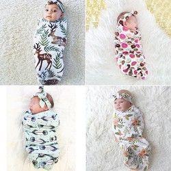 2 Pcs/Set Newborn Mode Unisex Bayi Membedung Selimut Bayi Tidur Membedung Muslin Wrap Headband Wrap Sleeping Bag 10 Gaya