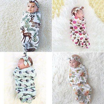 2Pcs/Set Newborn Fashion Unisex Baby Swaddle Blanket Baby Sleeping Swaddle Muslin Wrap Headband Wrap Sleeping Bag 10 Styles