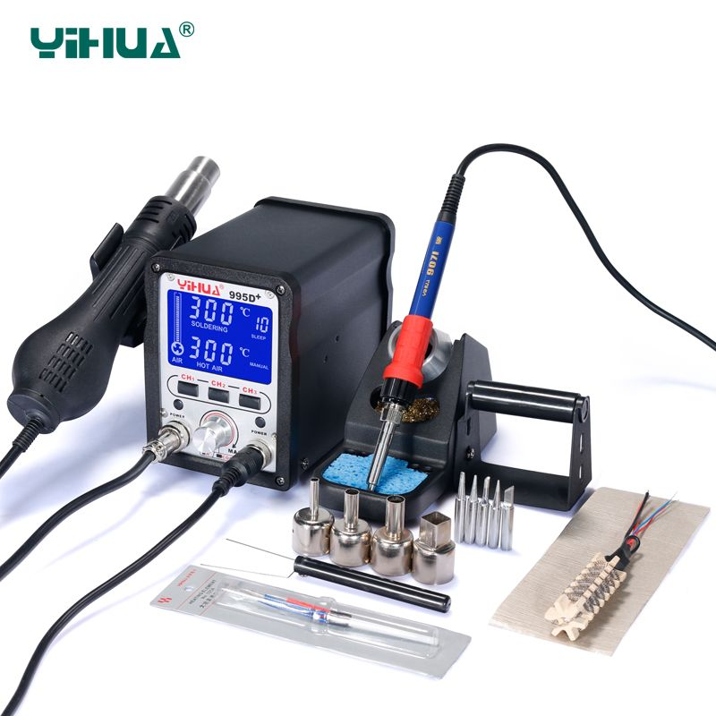 YIHUA 995D+ Upgrade Vision Iron Rework Station Pluggable SMD LCD Soldering Station Hot Air Welding Tools