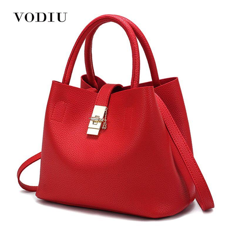 Femmes sac à main fourre-tout sur l'épaule bandoulière Messenger cuir femme rouge seau serrure grande décontracté dames luxe Designer sacs