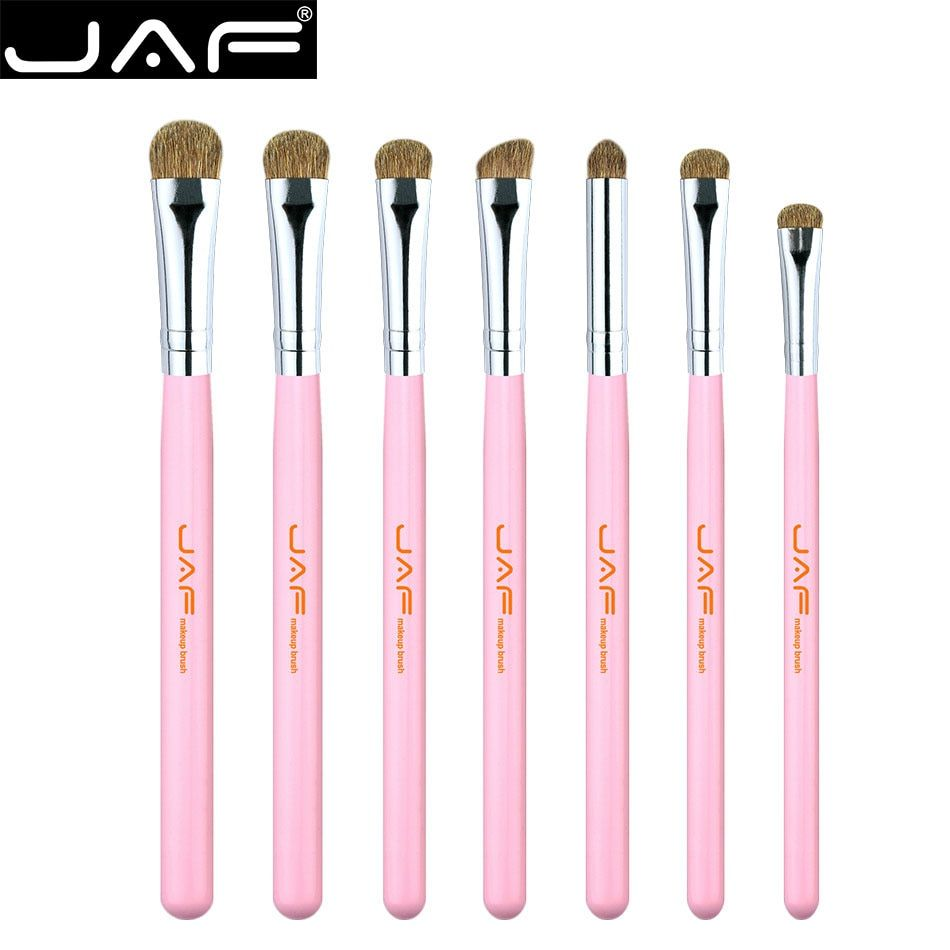 Retail JAF 7pcs Eye Brushes Set Pink Makeup Brush Kit Natural Eye Shadow Brushes Blending Pencil Kit JE07PY