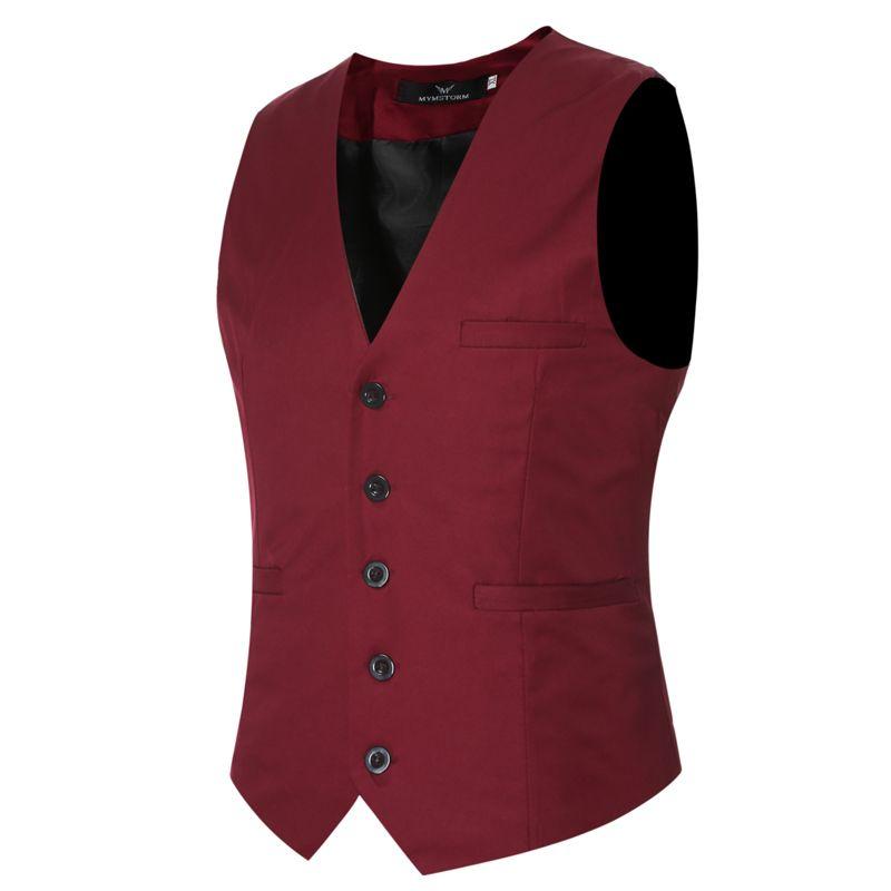 MarKyi plus größe 6xl fashion slim fit ärmellos herren hochzeit westen 9 farben solide weste männer kleid westen