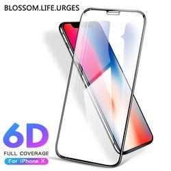 6D borde de la cubierta completa vidrio templado para el iPhone 8 7 6 s Plus X Protector de pantalla de cristal para iPhone 6 8 7 más protección de vidrio película 9 H
