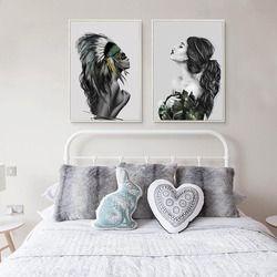 BIANCHE MUR Nordique Mode Native American Indian Fille Plumes Affiche Mur Art Toile Peinture Image pour La Maison Décoration
