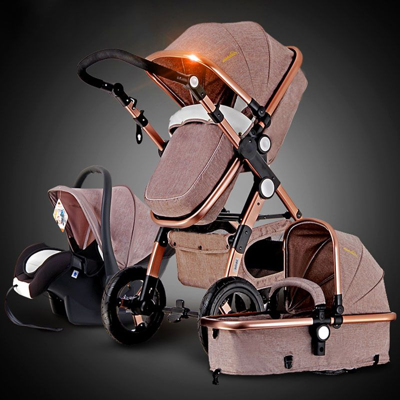 Gold baby stroller high landscape can sit or lie shock deck children bb baby stroller free delivery