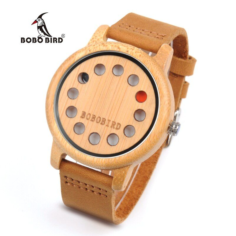 BOBO BIRD WA26 Bamboo Quartz Watch For Women Men 12 holes Creative Design Dial Face With Red Black Pointer Fashion