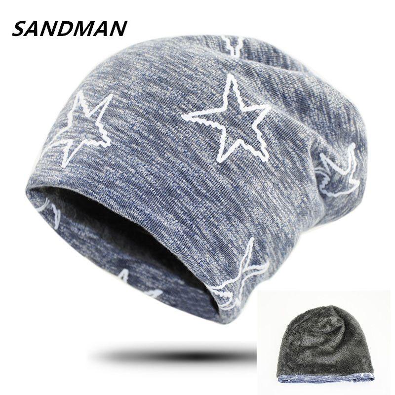 SANDMAN Baumwolle Sterne Mützen Hinzufügen Wolle Pelz Kaschmir Winter Hut Für Männer Und Frauen Hut Gestrickte Warme Mützen Kappe