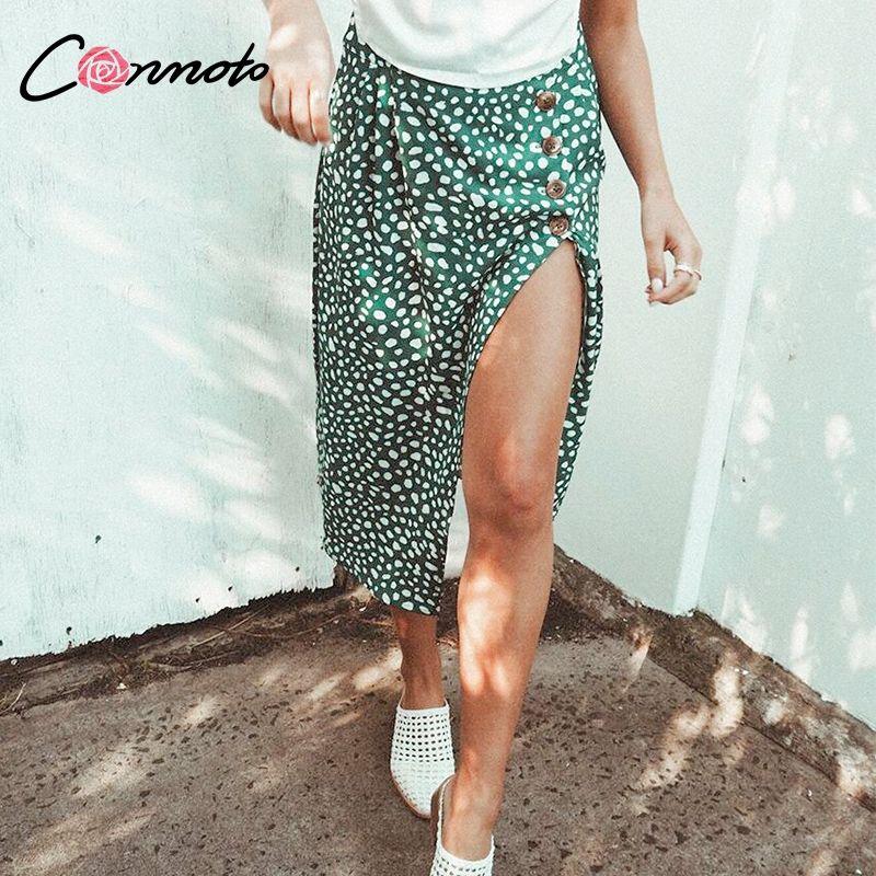 Conmoto taille haute fendu Midi jupes femmes bouton vert léopard Dot imprimé décontracté Chic été jupe Sexy haute couture Boho jupe