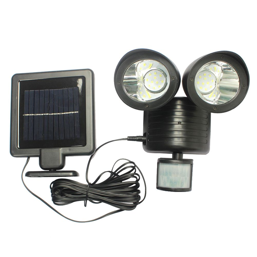 22 LED Solar Light PIR Motion Sensor Rotable Two Heads Waterproof Lights Lamp For Outdoor Indoor Garden Yard Wall <font><b>Spotlight</b></font>